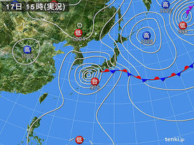 実況天気図(2017年09月17日)