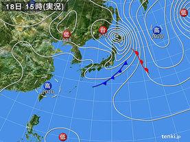 実況天気図(2017年09月18日)