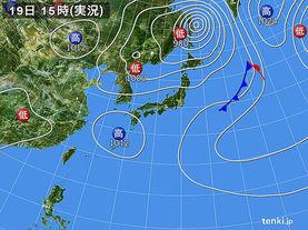 実況天気図(2017年09月19日)