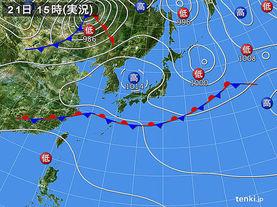 実況天気図(2017年09月21日)
