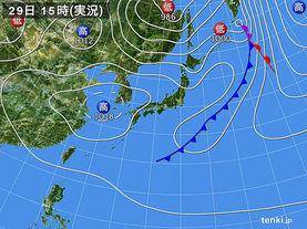 実況天気図(2017年09月29日)
