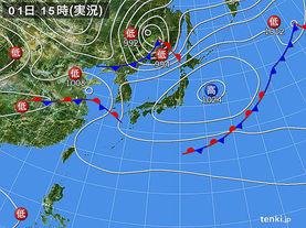 実況天気図(2017年10月01日)