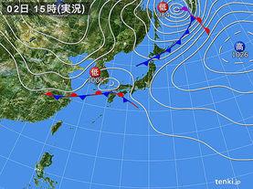 実況天気図(2017年10月02日)