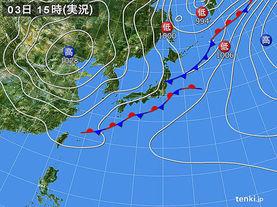 実況天気図(2017年10月03日)