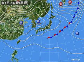 実況天気図(2017年10月04日)