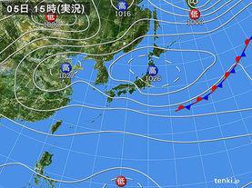 実況天気図(2017年10月05日)