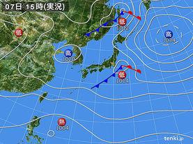 実況天気図(2017年10月07日)