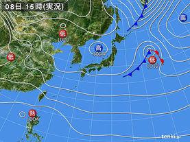 実況天気図(2017年10月08日)