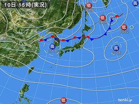 実況天気図(2017年10月10日)