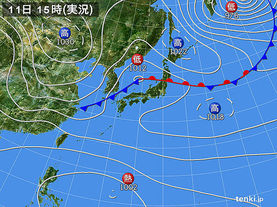 実況天気図(2017年10月11日)