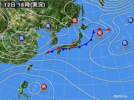 実況天気図(2017年10月12日)