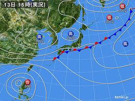 実況天気図(2017年10月13日)