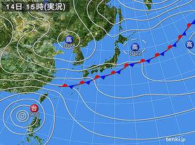 実況天気図(2017年10月14日)