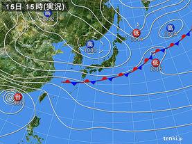 実況天気図(2017年10月15日)