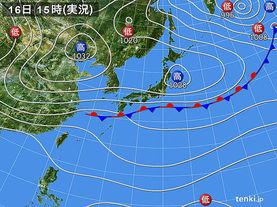 実況天気図(2017年10月16日)