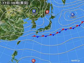 実況天気図(2017年10月17日)