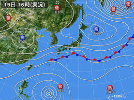 実況天気図(2017年10月19日)