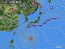 実況天気図(2017年10月21日)