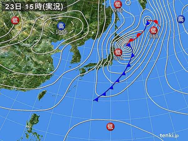 実況天気図(2017年10月23日)