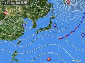 実況天気図(2017年10月24日)
