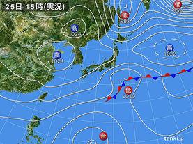 実況天気図(2017年10月25日)