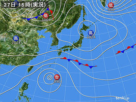 実況天気図(2017年10月27日)
