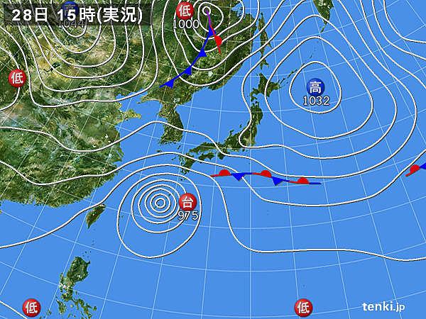 実況天気図(2017年10月28日)