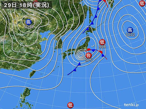 実況天気図(2017年10月29日)