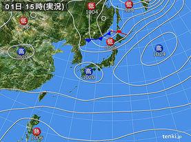 実況天気図(2017年11月01日)