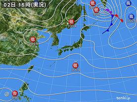 実況天気図(2017年11月02日)