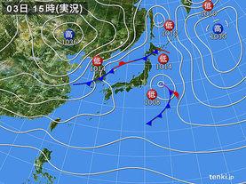 実況天気図(2017年11月03日)