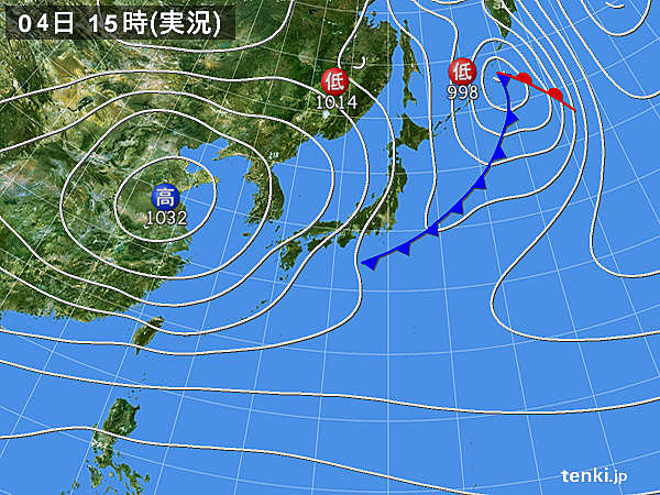 実況天気図(2017年11月04日)