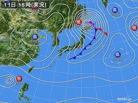 実況天気図(2017年11月11日)