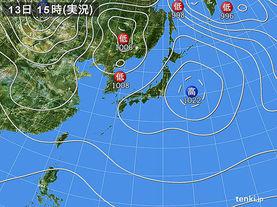 実況天気図(2017年11月13日)