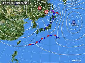 実況天気図(2017年11月14日)