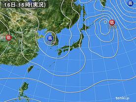 実況天気図(2017年11月16日)