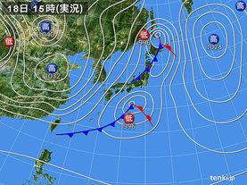 実況天気図(2017年11月18日)