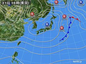 実況天気図(2017年11月21日)