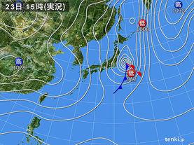 実況天気図(2017年11月23日)