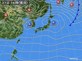 実況天気図(2017年11月27日)