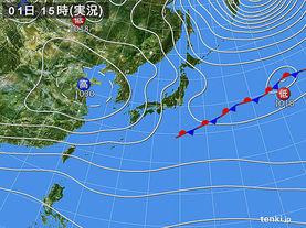実況天気図(2017年12月01日)