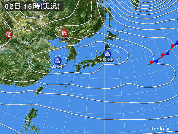 実況天気図(2017年12月02日)