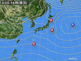 実況天気図(2017年12月03日)