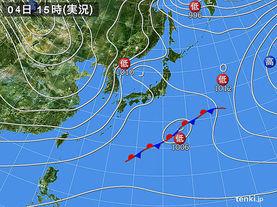 実況天気図(2017年12月04日)