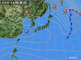 実況天気図(2017年12月09日)