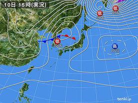 実況天気図(2017年12月10日)
