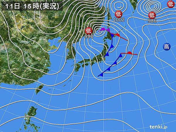 過去の実況天気図(2017年12月11日) - 日本気象協会 tenki.jp