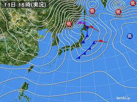 実況天気図(2017年12月11日)