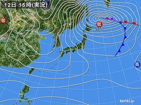 実況天気図(2017年12月12日)