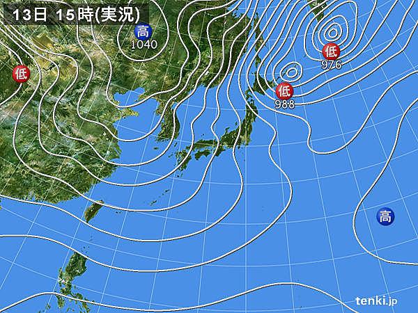 実況天気図(2017年12月13日)
